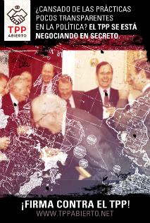 Afiche de la campaña TPP Abierto, en busca de la transparencia en el tratado