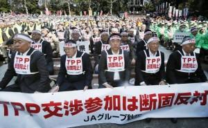 Agricultores japoneses protestando contra TPP en Tokio. (Foto de Japan Times)